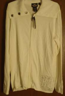 Harley Davidson Womens Full Zip Front Long Sleeved Sweater Off White