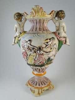 Vintage Capodimonte Art Pottery Urn Vase Cherub Italy Antique