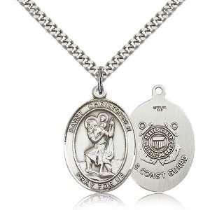 .925 Sterling Silver St. Saint Christopher Medal Pendant 1