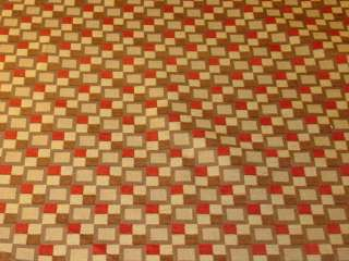 Modern Retro Squares Red Brown Gold Upholstery Fabric