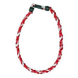 Titanium Ionic Braided Necklace   Red/White