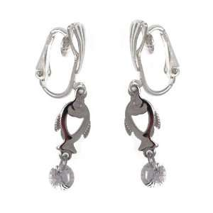 Pin Yin Silver Plated Crystal Fish Clip On Earrings
