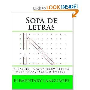 Sopa de letras A Spanish Vocabulary Review with Word