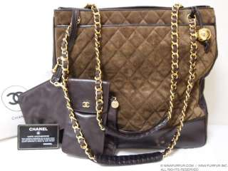 CHANEL VINTAGE XL JUMBO SUEDE CHAIN LARGE TOTE BAG