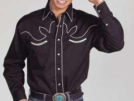 Western Cowboy Shirt   Black   Retro   Small to 4XL   SELECT SIZE