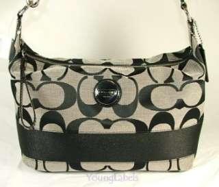 Coach Signature Stripe Shoulder Hobo Bag Purse Black White 17434