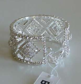 WOMEN SILVER TONE CLEAR CRYSTAL TAPESTRY CUFF WEDDING FASHION BRACELET