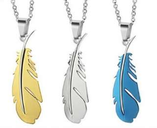 Quality 316L Stainless Steel Silver Bird Feathers Fashion Men Necklace