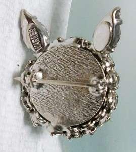 Vintage JOSEPH WARNER Prong Set Red Rhinestone KITTY CAT Pin Brooch