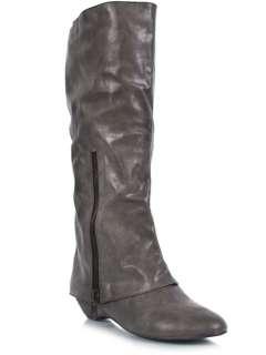 MADDEN GIRL ZIPPA Women Casual Cuff Knee High Low Wedge Heel Boot gray