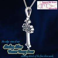 Sterling Silver Tweens Fancy Cross Pendant/Necklace