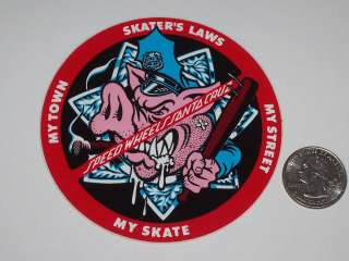 CRUZ 1980s SPEED WHEELS PIG COP SMA SKATEBOARD OLD SCHOOL NOS STICKER