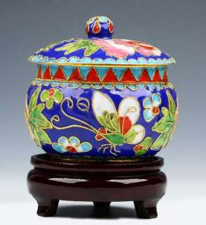 CHINESE OLD CRAFT GOLD PLATED CLOISONNE TEA CADDY 5251