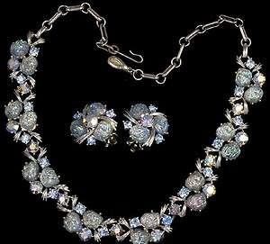 Lisner Signed Aurora Borealis Rhinestone Necklace and Earrings Set