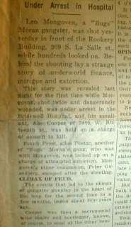 Chicago newspaper headline BUGS MORAN GANG Gangster partner SHOT DOWN