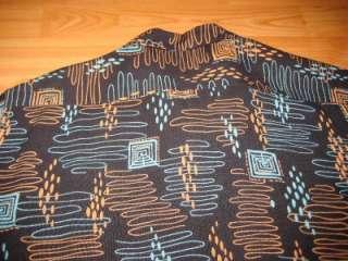 VINTAGE 1950S BLACK BACKGROUND ATOMIC RAYON ROCKABILLY SHIRT  LARGE