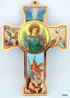 Saint St Michael Wood Wall Cross Patron Archangel
