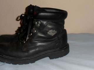 HARLEY DAVIDSON MOTORCYCLE BOOTS BLACK LEATHER LACE UP MENS SIZE 9