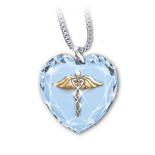 Healing Touch Crystal Heart Pendant Necklace Nurse Gift