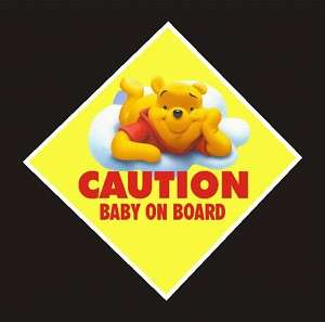 Winnie The Pooh Baby on Board Decal, Sticker Yellow #2