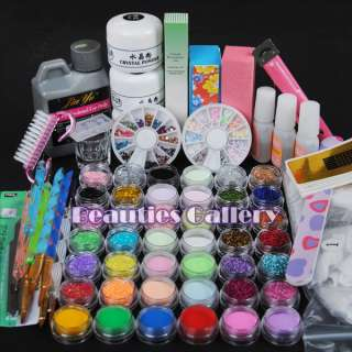 Pro Acrylic Powder Liquid KIT UV NAIL ART TIPS Dust Stickers Brush