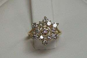 14K Yellow Gold Natural Round Diamond Starburst Cluster Ring