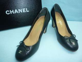 NIB CHANEL ESCARPINS CC LOGO BLACK HEELS SHOES SZ 36.5