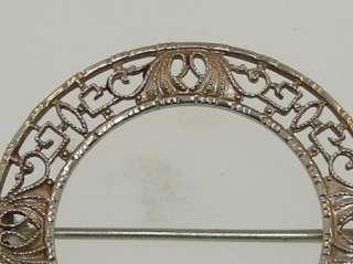 1930S BELAIS ART DECO 10K WHITE GOLD FILIGREE PIN