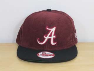 Hat Cap Snapback Corduroy Alabama Crimson Tide Burgundy Black