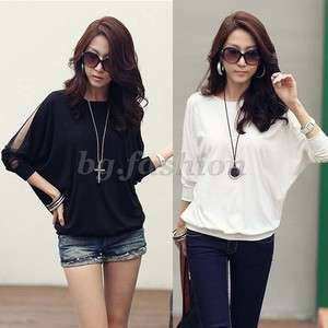 Womens Trendy Batwing Long Sleeve Loose T Shirt Tops Blouse 2 COLORS