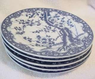 Nippon Tokusei Blue & White Cherry Blossom Prunus Dessert Plates