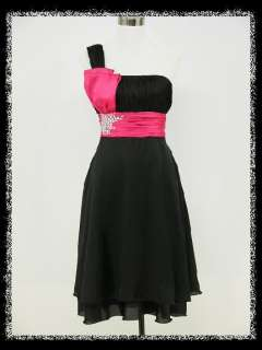 dress190 ONE SHOULDER BLACK & PINK JEWELLED CHIFFON PARTY PROM