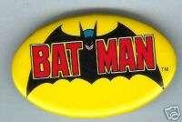 BATMAN 1982 oval large pin pinback button DATED