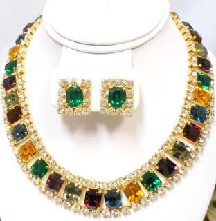 Multi Color Rhinestone Formal Necklace Clip Earrings Exc