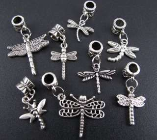 Mix 100pcs Tibetan Silver Nice Dragonfly Dangle Beads Fit Charm