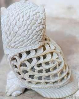 Soapstone OWL Sculpture Jali w baby OWL inside Handmade India Art