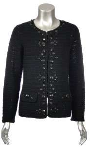 Sutton Studio Womens Embellished 100% Wool Crochet Cardigan Sweater