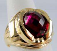 MENS RING ANTIQUE VINTAGE COLLECTIBLE DECO ESTATE RUBY 10K YELLOW GOLD