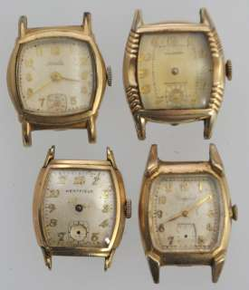 Lot of 4 VTG 50s Cushion Case Swiss Mens Watches 10K Rolled Gold For