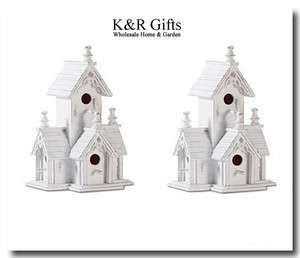 Set of 2 Shabby White Distressed Wood Victorian Style Bird Houses NEW