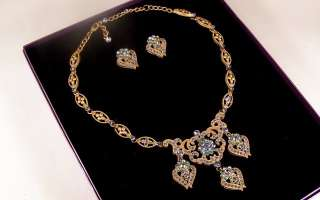 Suzanne Somers AB & Blue Rhinestone Necklace & Earrings