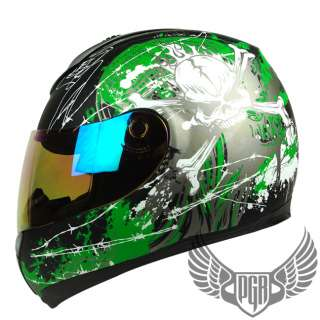 Matte Black Green Skull PEAK Full Face Motorcycle DOT APPROVED Helmet