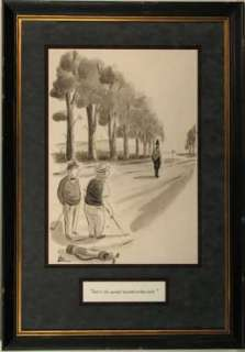 ADDAMS   NEW YORKER Cartoon (1939) Orig Art LINCOLN on the GOLF COURSE
