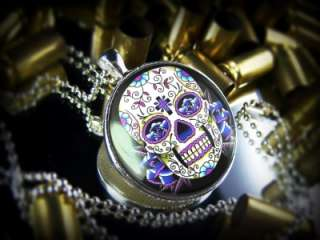 Large Dia De Los Muertos Dead Tattoo Skull Sterling Silver Necklace 65