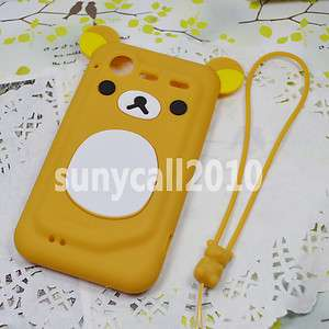 Brown cute lovely bear Silicone Case cover skin for HTC Incredible S2