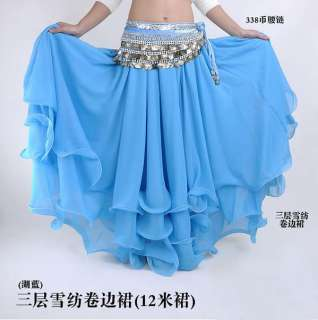 New Sexy Belly Dance Costume Three Layers Skirt 9 color