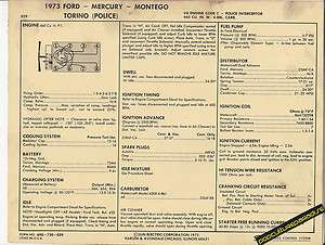 MERCURY MONTEGO/TORINO (POLICE) 460 V8 Car SUN ELECTRONIC SPEC SHEET