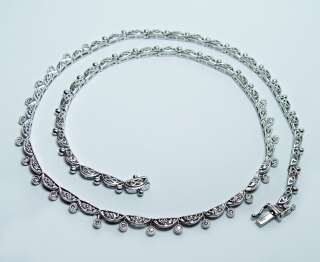 14K White Gold Diamond Filigree Riviera Necklace Estate Jewelry Heavy