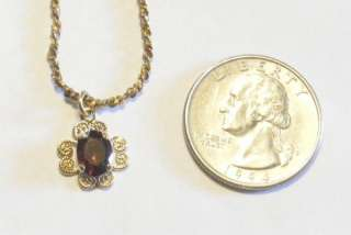 Vtg Gold Filled Red/Purple Stone Pendant Necklace