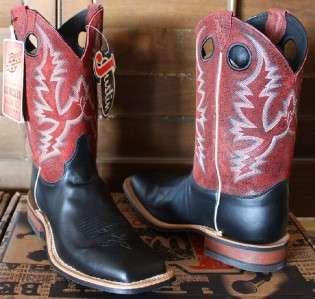 Mens JUSTIN Bent Rail BURNISHED Black CALF Square Toe Cowboy boots 9